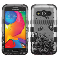 Military Grade TUFF Image Hybrid Case for Samsung Galaxy Avant - Lace Flowers Black