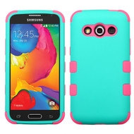 Military Grade TUFF Hybrid Case for Samsung Galaxy Avant - Teal Hot Pink