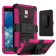 Advanced Armor Hybrid Kickstand Case with Holster for Samsung Galaxy Note Edge - Black Hot Pink