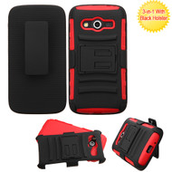 Advanced Armor Hybrid Kickstand Case with Holster for Samsung Galaxy Avant - Black Red