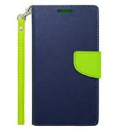 Leather Wallet Shell Case for Samsung Galaxy Note Edge - Navy Blue