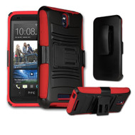 *Sale* Advanced Armor Hybrid Kickstand Case with Holster for HTC Desire 512 / 510 - Black Red
