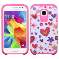 Hybrid Multi-Layer Armor Case for Samsung Galaxy Core Prime / Prevail LTE - Heart Graffiti