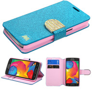 Glitter Leather Wallet Case for Samsung Galaxy Avant - Blue