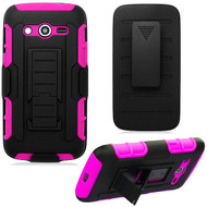 Robust Armor Stand Protector Cover with Holster for Samsung Galaxy Avant - Black Hot Pink