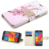 Art Design Portfolio Leather Wallet for Samsung Galaxy Avant - Spring Flowers