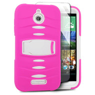 *Sale* Maximum Armor Hybrid Case with Integrated Screen Protector for HTC Desire 512 / 510 - Hot Pink White