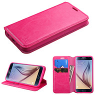 Book-Style Leather Folio Case for Samsung Galaxy S6 - Hot Pink