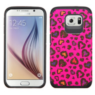 Hybrid Multi-Layer Armor Case for Samsung Galaxy S6 - Glittering Leopard Hot Pink
