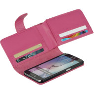 *SALE* Deluxe Leather Wallet for Samsung Galaxy S6 - Hot Pink