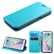 Book-Style Leather Folio Case for Samsung Galaxy S6 Edge - Blue