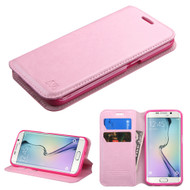 Book-Style Leather Folio Case for Samsung Galaxy S6 Edge - Pink