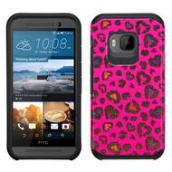 *Sale* Hybrid Multi-Layer Armor Case for HTC One M9 - Glittering Leopard Hot Pink