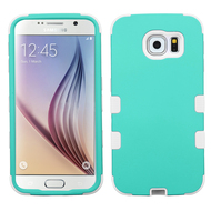 Military Grade Certified TUFF Hybrid Case for Samsung Galaxy S6 - Teal White