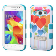 Military Grade Certified TUFF Image Hybrid Kickstand Armor for Samsung Galaxy Core Prime / Prevail LTE - Heart Balloons
