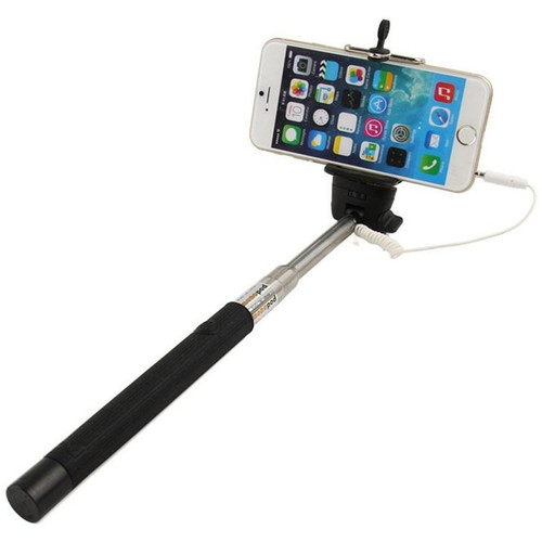 sale wired selfie stick with shutter button black hd accessory. Black Bedroom Furniture Sets. Home Design Ideas