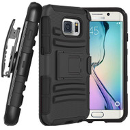 *DAILY DEAL* Advanced Armor Hybrid Kickstand Case with Holster for Samsung Galaxy S6 Edge - Black