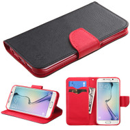 Diary Leather Wallet Case for Samsung Galaxy S6 Edge - Black Red