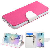 Diary Leather Wallet Case for Samsung Galaxy S6 Edge - Hot Pink