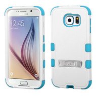 Military Grade Certified TUFF Hybrid Kickstand Case for Samsung Galaxy S6 - White Teal