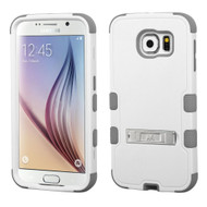 Military Grade Certified TUFF Hybrid Kickstand Case for Samsung Galaxy S6 - White Grey