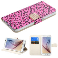 Art Design Portfolio Leather Wallet for Samsung Galaxy S6 - Leopard Pink