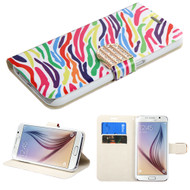 Art Design Portfolio Leather Wallet for Samsung Galaxy S6 - Rainbow Zebra