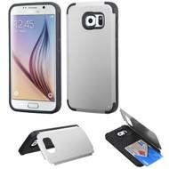 Credit Card Hybrid Kickstand Case for Samsung Galaxy S6 - Silver