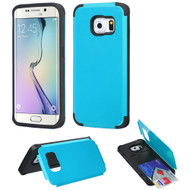 Credit Card Hybrid Kickstand Case for Samsung Galaxy S6 Edge - Blue