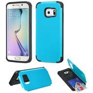 Credit Card Hybrid Kickstand Case for Samsung Galaxy S6 Edge - Blue