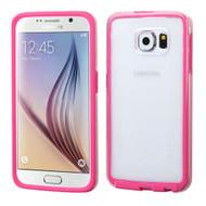 Bumper Frame Transparent Hybrid Case for Samsung Galaxy S6 - Hot Pink