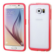 Bumper Frame Transparent Hybrid Case for Samsung Galaxy S6 - Red