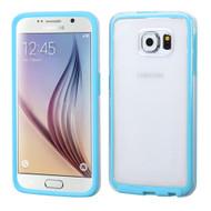 Bumper Frame Transparent Hybrid Case for Samsung Galaxy S6 - Baby Blue