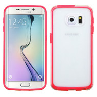 Bumper Frame Transparent Hybrid Case for Samsung Galaxy S6 Edge - Red