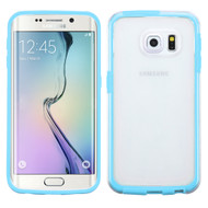 Bumper Frame Transparent Hybrid Case for Samsung Galaxy S6 Edge - Baby Blue