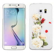 Snap-On Diamond Image Case for Samsung Galaxy S6 Edge - White Rose