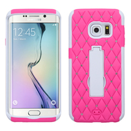 Impact Armor Spot Diamond Case for Samsung Galaxy S6 Edge - Hot Pink White