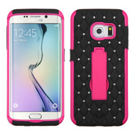 Impact Armor Spot Diamond Case for Samsung Galaxy S6 Edge - Black Hot Pink