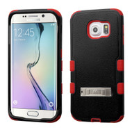 *Sale* Military Grade TUFF Hybrid Kickstand Case for Samsung Galaxy S6 Edge - Black Red