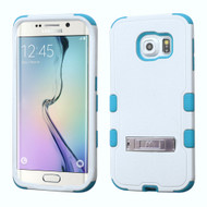 Military Grade Certified TUFF Hybrid Kickstand Case for Samsung Galaxy S6 Edge - White Teal