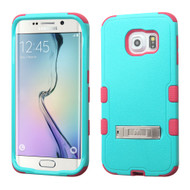 Military Grade Certified TUFF Hybrid Kickstand Case for Samsung Galaxy S6 Edge - Teal Hot Pink