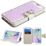 Luxury Diamond Wallet Case for Samsung Galaxy S6 Edge - Purple