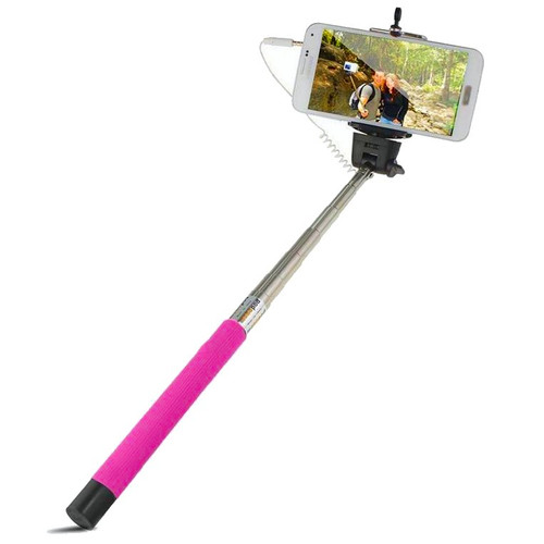 sale wired selfie stick with shutter button hot pink hd accessory. Black Bedroom Furniture Sets. Home Design Ideas