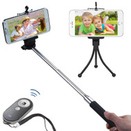 Selfie Stick Wireless Remote Control Shutter Bundle Kit - Black Grey