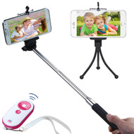 Selfie Stick Wireless Remote Control Shutter Bundle Kit - White Hot Pink