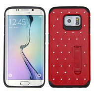 Luxurious Elite Dazzling Diamond Hybrid Case for Samsung Galaxy S6 Edge - Red