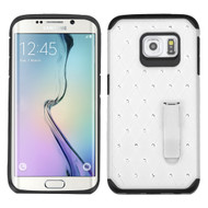 Luxurious Elite Dazzling Diamond Hybrid Case for Samsung Galaxy S6 Edge - White