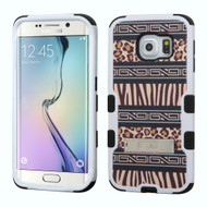 Military Grade Certified TUFF Image Hybrid Kickstand Case for Samsung Galaxy S6 Edge - Leopard Zebra