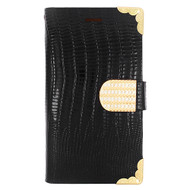 Luxury Portfolio Leather Wallet for Samsung Galaxy Avant - Croc Black