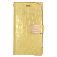 Luxury Portfolio Leather Wallet for Samsung Galaxy Avant - Croc Gold